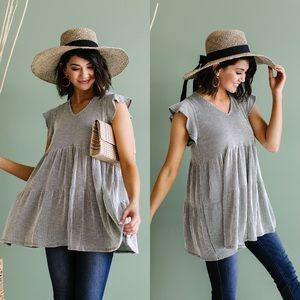 Ruffle Sleeve Tiered Babydoll in Olive